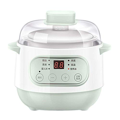 GAOFQ Elektrische Eintopfwanne 1L Ceramic Liner Slowcooker Haushalts-Multifunktion kann reserviert Werden Eintopf Slow Cooker, grün