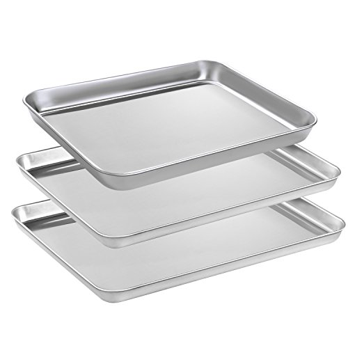 HEAHYSI Baking Sheets Set, Stainless Steel Cookie Sheets & Large Baking Pans for Oven, Non Toxic & Healthy,Superior Mirror Finish & Easy Clean, Dishwasher Safe & Length Size 16.1 and 10.4inch
