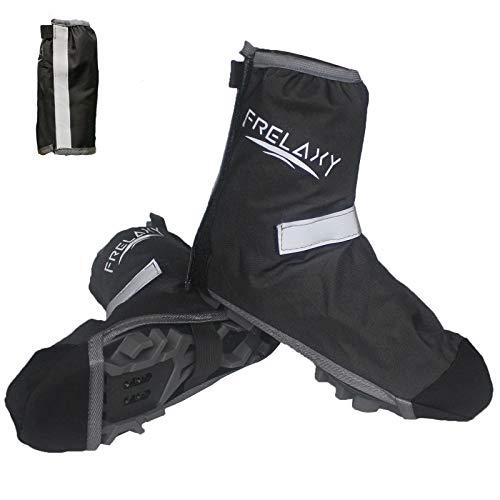 Frelaxy Überschuhe Fahrrad Wasserdicht(Gr. 35-49), Dicker Regenschutz für Schuhe, Unisex Fahrrad Gamaschen Regenüberschuhe mit Reflektorstreifen und Verstellbarem Klettverschluss