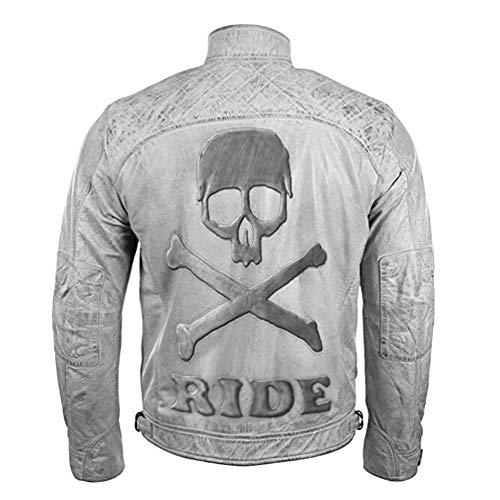 Feather Skin Männer Kleidung Cafe Racer Motorcycle Vintage Weiß Distressed Echte Lederjacke with Skull Embossed- XS