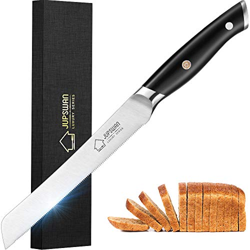Jupswan Bread Knife 8 Inch Bagel Knife for Homemade Bread Cutting Cake Knives High Carbon Stainless Steel Bread Knives