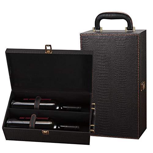 GonFan Weinflasche Box Flasche Champagner Geschenkbox Doppel Wein Perfekt for die Aufbewahrung Decor Geschenkbox (Color : Black, Size : 35x20x12cm)