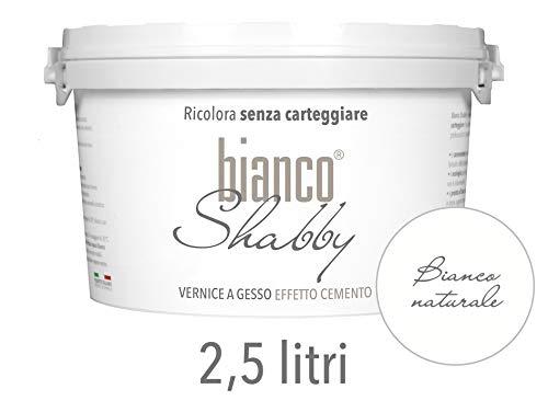 Chalk Paint EFFETTO CEMENTO Extra Opaca per Mobili e Pareti Colore Bianco Naturale (2,5 Litri)