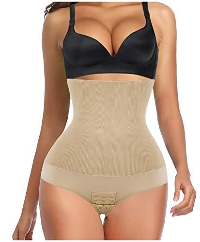 Gotoly Women Waist Trainer Shapewear High Waist Tummy Control Seamless Body Shaper Butt Lifter Panties (Medium/Large, Beige)