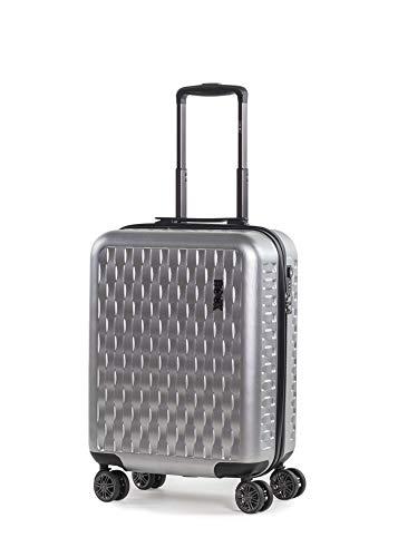 Rock Allure 56cm Cabin Size Hardshell 8 Wheel Spinner Suitcase Silver