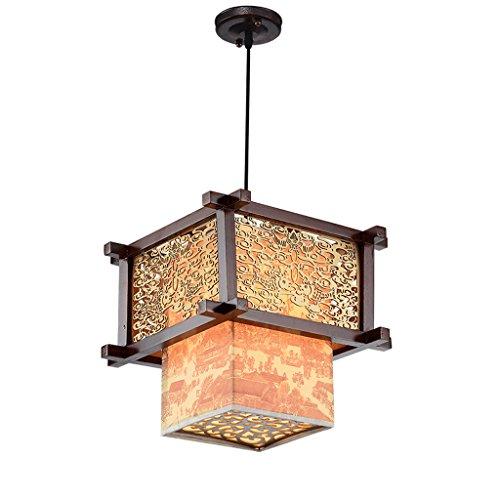 GIlight Moderno Ciondolo in Legno massello in Stile Giapponese, Camera da Letto Soggiorno Cucina Ristorante lampadario, lampadari intagliati Squisito, Classico Creativo, Resistente, Ø32cm * H92cm