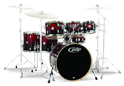 PDP by DW 5 Concept Ahorn Shell Pack mit Chrom Hardware Blue Sparkle Konzept Ahorn 7-Piece Red to Black Fade