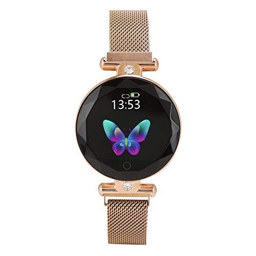 Portátil S886 Pantalla a Color Redonda Completa Multifunción Sensor de Gravedad de Tres Ejes Banda Inteligente, Reloj Inteligente, Hombre de Moda para Mujer(Golden)