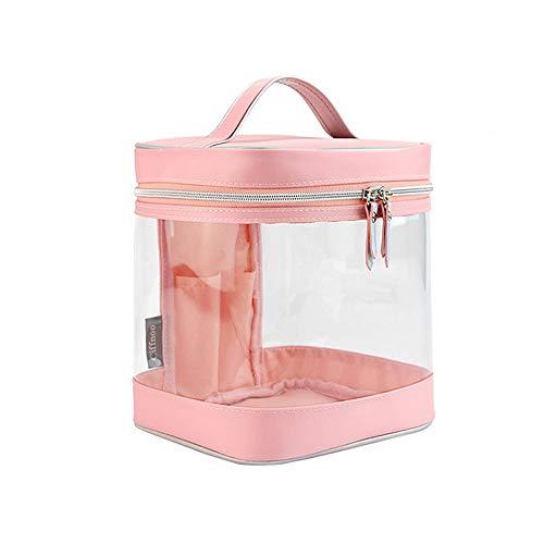 Cosmétique Sac Transparent De Stockage Voyage PVC Épais Sac De Grande Capacité Professionnelle Cosmétique Cas Femme Simple Portable (Color : Pink)