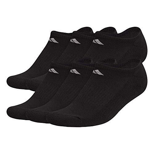 adidas Women's Athletic No Show Socks (6-Pack), Black/Aluminum 2, M (Shoe Size 5-10)