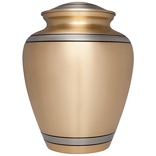 Gold Funeral Cremation Urn for Human Ashes by Liliane Memorials - Hand Made in Brass - Suitable for Cemetery Burial or Niche - Large Size fits Remains of Adults up to 200 lbs - Peaceful Embrace