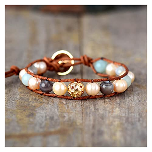 JIAH Pulseras Pulseras de Envoltura de Cuero con Perlas con Perla de Agua Dulce Pulsera con Encanto de Oro Joyería de Piedra Natural