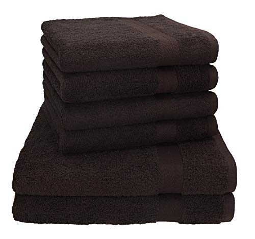 Betz 6-TLG. Handtuch-Set Premium 100prozent Baumwolle 2 Stück Duschtücher 70x140 cm 4 Stück Handtücher 50x100 cm (Dunkelbraun)