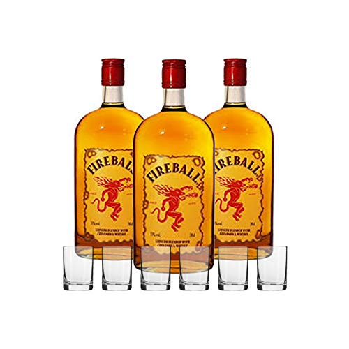 Fireball Likör Blended With Cinnamon & Whisky 33% vol. (3 x 0.7 l) mit 6 Shot Gläsern