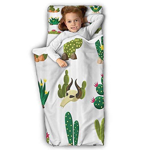 Cactus Decor Kids Sleeping Bag Mexican South Desert Animals Cactus Plants Skeletons Flowers Cartoon Image Soft Microfiber for Preschool Multicolor 43X21 INCH