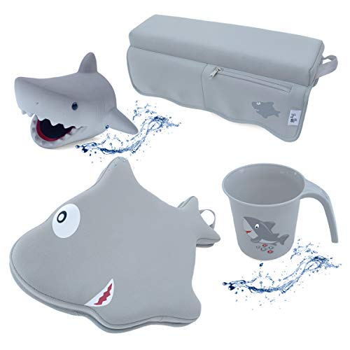 Jay-EE Baby Shark Bath Set with Four Bath time Essentials, Spout Cover, Bath Kneeler, Elbow Pad, and Cup Rinser, Grey