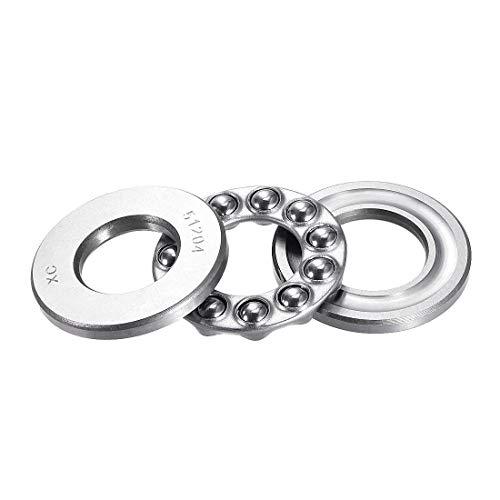 uxcell 51204 Thrust Ball Bearings 20mm x 40mm x 14mm Chrome Steel Single Direction
