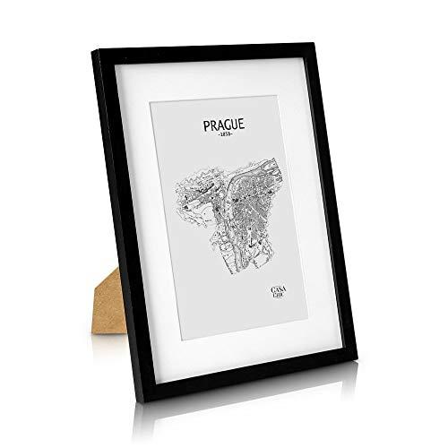 Classic by Casa Chic Marco de Fotos 30 x 40 cm con Paspartú para Foto 20 x 30 cm - Madera de Pino - 1 Marco - Grosor del Marco 2 cm - Frente Inastillable de Perspex - Color Negro