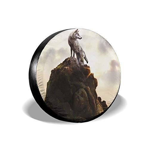 WH-CLA Tire Cover Wolf Stand On Summit Cubierta De Rueda Impermeable Duradera Universal 4 Tamaños Accesorios De Remolque Cubierta De Neumático De Repuesto Impresión A Prueba De Polvo Se 16in/76~79cm