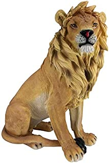 Design Toscano JE43201 King of Beasts Lion Outdoor Garden Statue, 27 Inch, full color