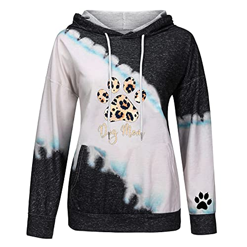 Fall Clothes for Women Cute Cow Print Color Block Long Sleeve Pocket Hoodie Teen Girls Plus Size Winter Warm Loose Lightweight Hooded Open Front Cardigan Jacket Coat Tops Pullover(C Black,Medium)