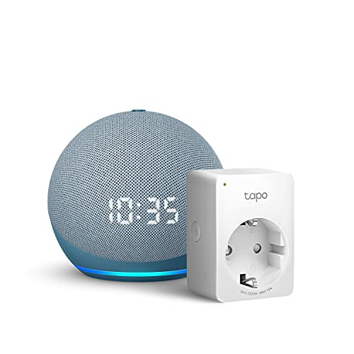 Echo Dot (4.ª generación) con reloj, Azul grisáceo + TP-Link Tapo P100 Smart Plug (enchufe inteligente WiFi), compatible con Alexa