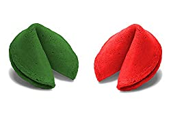 Christmas Colored Fortune Cookies - Individually Wrapped