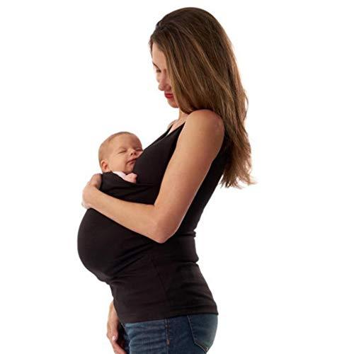 Camisetas Tirantes Premamá Camisetas Canguro Mujer Ropa Embarazadas Verano Camiseta Lactancia Chaleco Sin Mangas con Cuello Camisola Portabebé