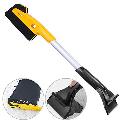 Rovtop Schneebesen Eiskratzer zerlegbar für Barrer Schnee / Schneeschieber / Eisernetz vom Reifen / Schnee an der Windschutzscheibe / Schaber Auto mit ABS-Griff gelb