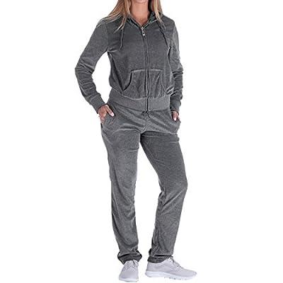Facitisu Womens Velour Tracksuit 2 Pieces Zip Up Hoodie & Sweatpants Active Jogging Outfits Sweatsuits S-3XL (Medium, Dk.Grey)