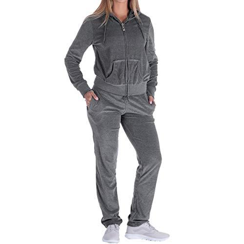 Facitisu Womens Velour Tracksuit 2 Pieces Zip Up Hoodie & Sweatpants Active Jogging Outfits Sweatsuits S-3XL (X-Large, Dk.Grey)
