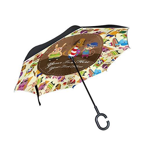 Umkehrbarer Regenschirm, Sommertier Hund Winddichter Regenschirm, Umkehrschirm, Regenschirme mit UV-Schutz, Kopfschutz mit C-förmigem Griff