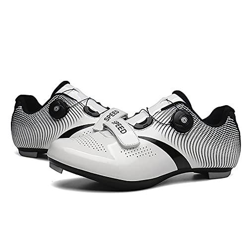 Zapatos de ciclismo con cerradura Doble hebilla Lock Zapatos Hombres y mujeres Bicicleta de carretera Zapatos asistidos por el poder Soled Hard-Sueled Ciclismo de montaña Calzado deportivo,Blanco,40