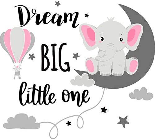 Dream Big Little One Elephant Wall Decals Baby Elephant Wall Stickers Cloud Moon and Star Decal product image