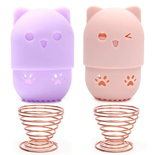 Sayopin Makeup Schwämme Halter, 2 St. Makeup Schwamm Ständer Zum Trocknen + 2 St. Make-up Blender Schwamm Behälter, Süße Katze Silikon Beauty Blender Holder
