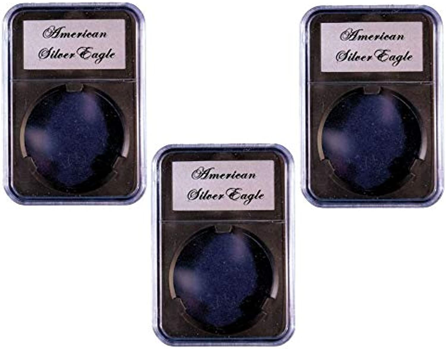 3 Pak Little Bear Elite Black Certified-Style Coin Holder for American Silver Eagle
