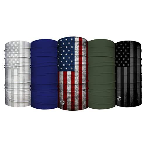 S A - UV Face Shield 5 Pack - Blue - Multipurpose Neck Gaiter, Balaclava, Elastic Face Mask for Men and Women
