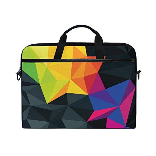 Ahomy Laptop-Tasche, 3D, Bunte geometrische Figur, Dreieck, Leinenstoff, Laptop-Tasche mit Schulterriemen für Damen und Herren