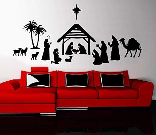 Frohe Weihnachten Krippe Wandaufkleber Wand Wohnzimmer Wohnkultur Vinyl Wandtattoo Schlafzimmer Urlaub Stickers-120X57 Cm