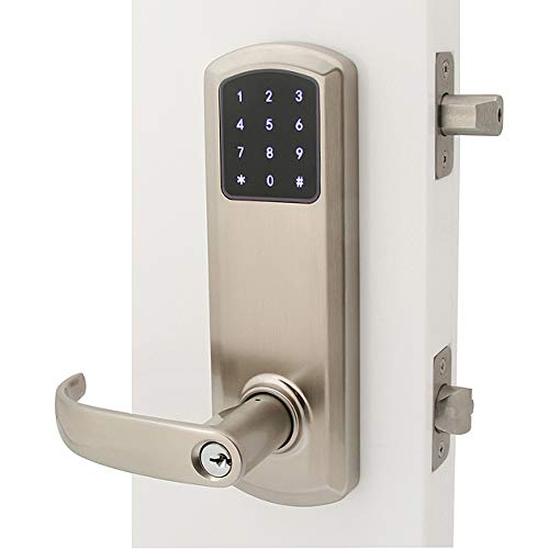 """Prodigy SmartLock MaxSecure Interconnect Commercial Grade 2 Lock with RFID Keyless Entry (Left Hand 5-1/2"""", Satin Nickel)"""