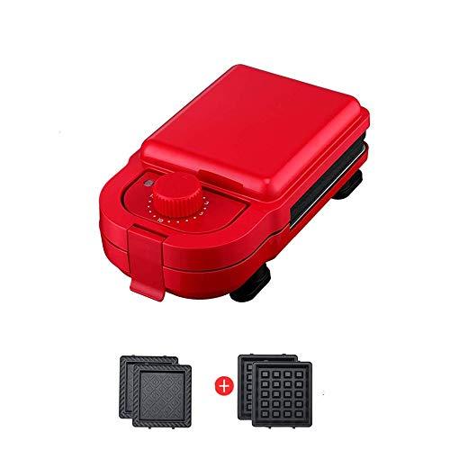 DWLXSH 2-in-1 Sandwich Maker, 550-watt Cialda con Staccabile Antiaderente Dimensioni Coating Press Grill Compatto con Sistema Automatico termostatica (Color : Red)