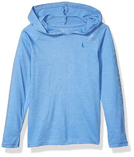 Reebok Boys' Little Long Sleeve Active T-Shirt, Jersey Pullover Blue Heather, 7