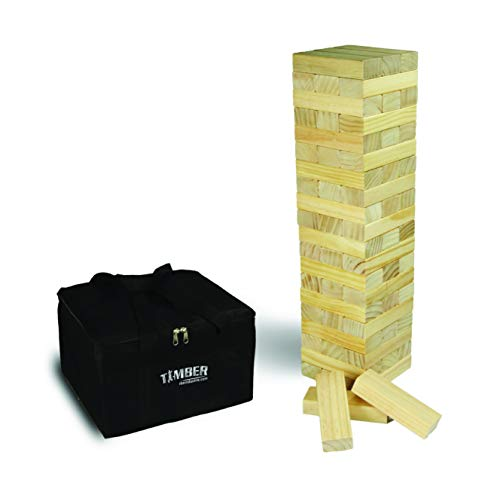 Giant Timber - Large Size Wood Game - Ideal for Outdoors - Perfect for Adults, Kids 60 XL Pcs 6 x 2 x 1.2 Inch - Over 4 Feet Big
