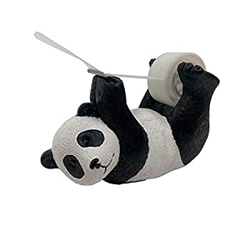 ANIMMO Panda Style Desktop Tape Dispenser with Steel Teeth Tape Cutter Tape Holder with Velveted Cloth Bottom for Desk Accessories Office and Home
