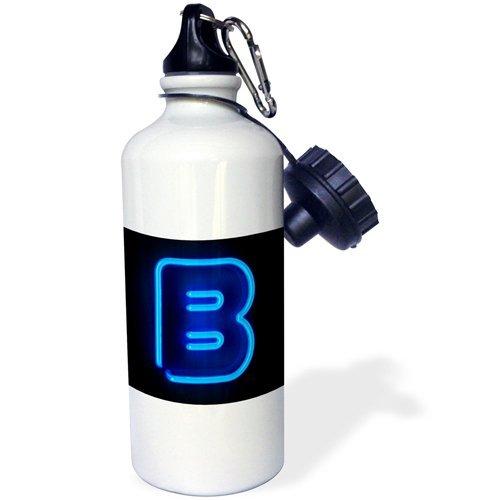 guyeFiy-Monogram Letter B Abstract Neon Blue Lit Shining Drinkfles Aluminium Sports Waterfles Wit 400ml 600ml