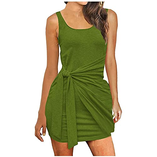 FQZWONG Women's Sexy Bandage Ribbed Dress Slim Fit Sleeveless Pleated Bow Belt Skirt for Dating Holiday Daily(Green,5X-Large)