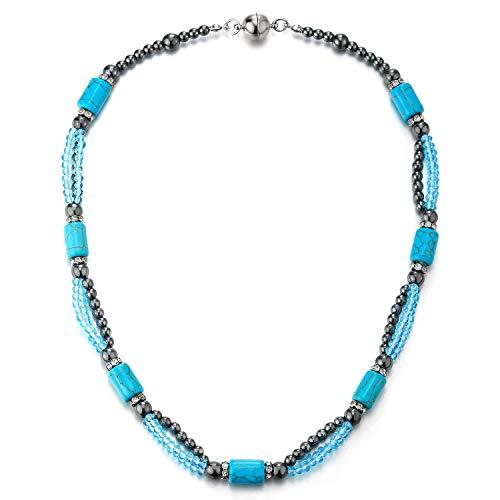 iMECTALII Turchese Statement Collana Perline Catena con Cristallo Pietre Perline Charms Pendente Moda Accessori Estivi