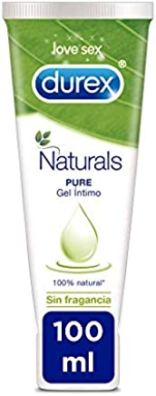 Durex Naturals Lubricante a Base de Agua, 100 % Natural Sin Fragancia, Colorantes ni Agentes Irritantes - 100 ml
