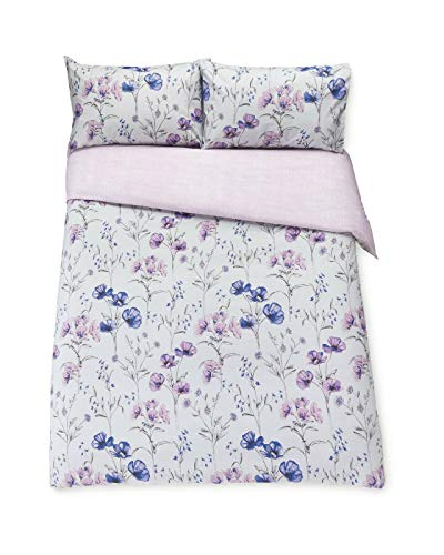 Kirkton House FLORAL LAVENDER DOUBLE DUVET COVER SET WITH PILLOWCASES MACHINE WASHABLE