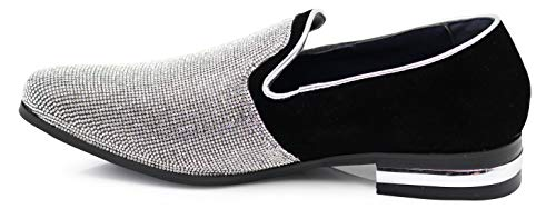 Enzo Romeo TRS Men Rhinestone Round Toe Suede Chrome Heels Dress Loafer Slip On Fashion Shoes